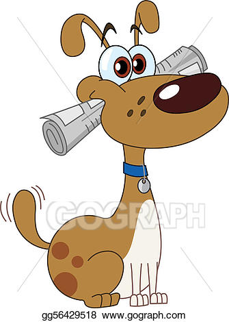 Vector with illustration . Clipart dog newspaper