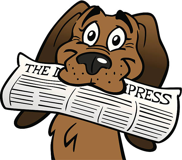 Clipart dog newspaper. With station