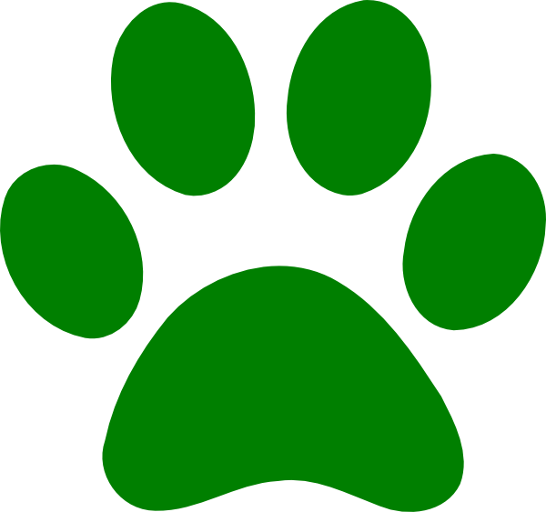 Green print clip art. Paw clipart royalty free