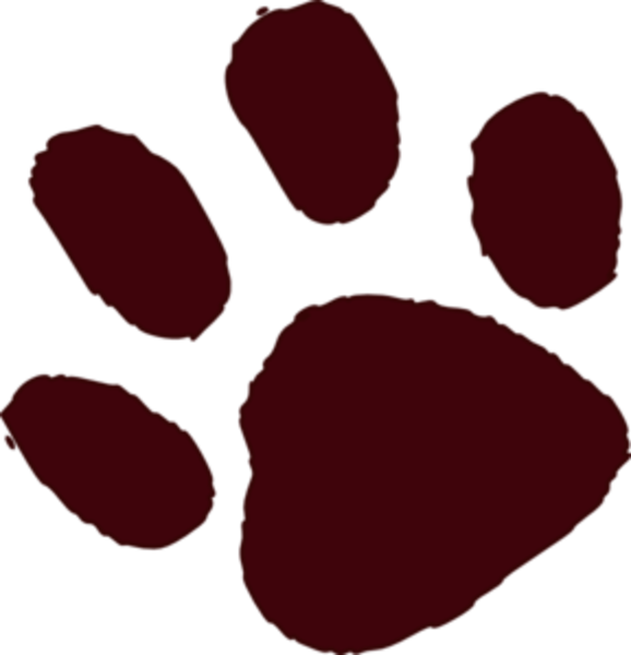 Paw clipart trail. Brown print md free