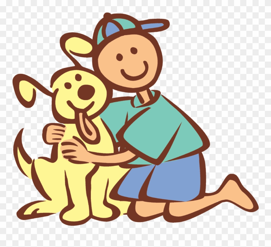 Pet clipart person dog. Boy and hugging cartoon