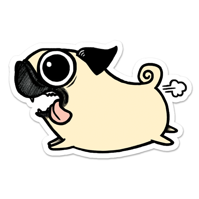 Crazy sticker give a. Clipart dogs pug