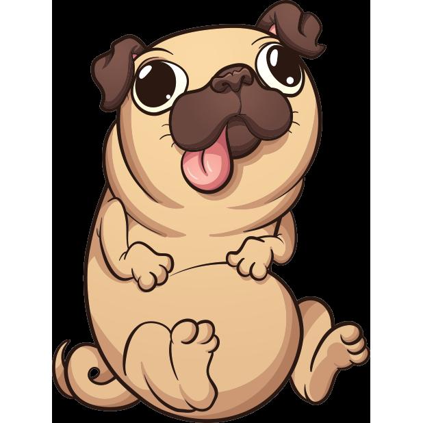 Puglife emoji stickers by. Pet clipart pug
