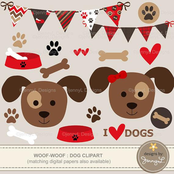 Clipart dog scrapbook. Puppy bone paw print