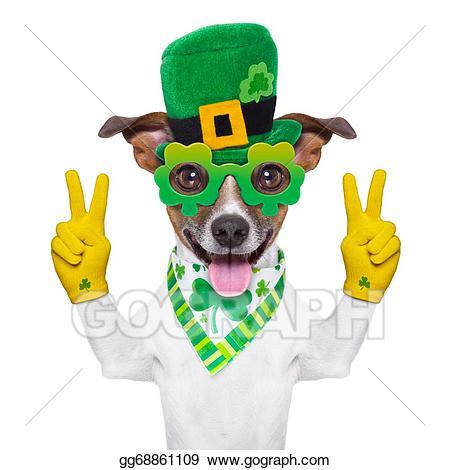 Clipart dog st patrick day. Stock illustration patricks