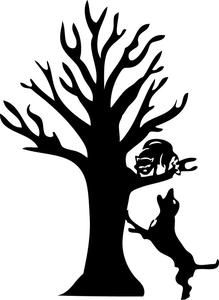 Clipart dog tree. Coon treeing free images