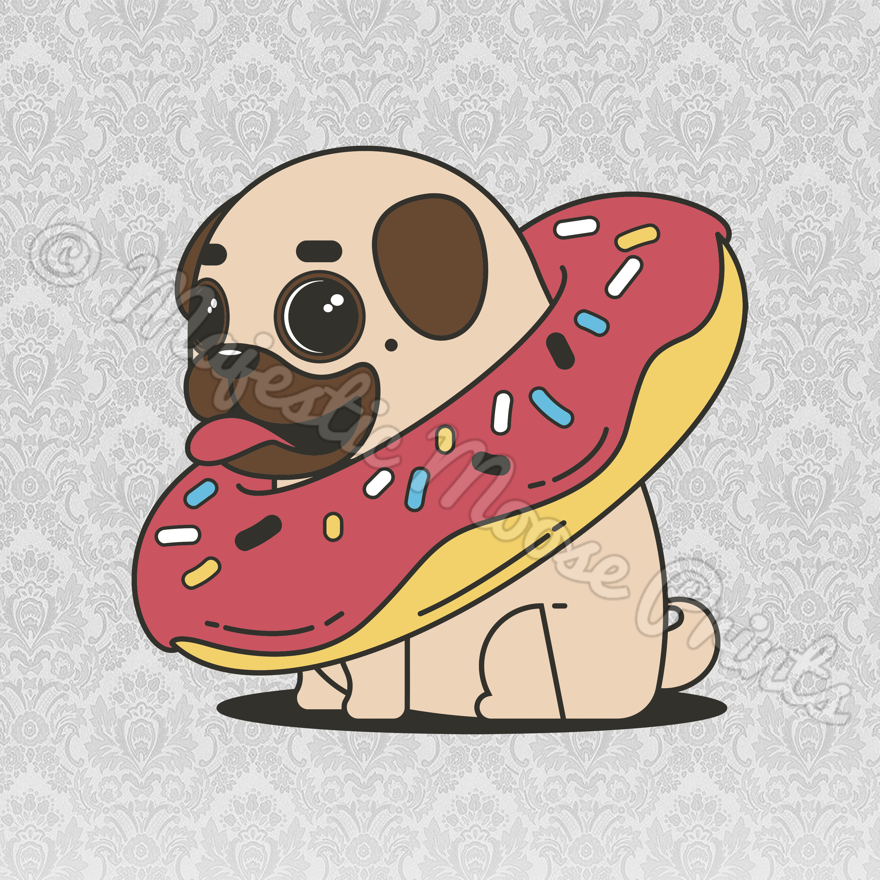 Majestic moose prints pug. Donut clipart red