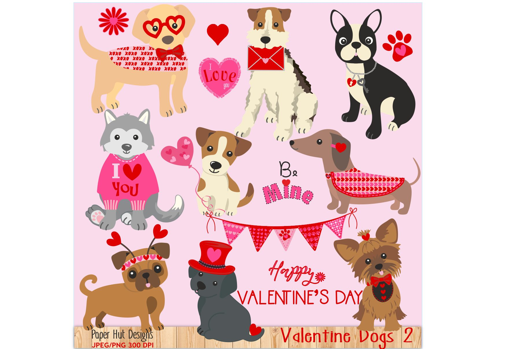 . Valentine clipart dog