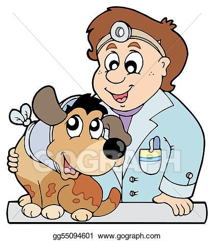 Vector art dog with. Veterinarian clipart veteranarian