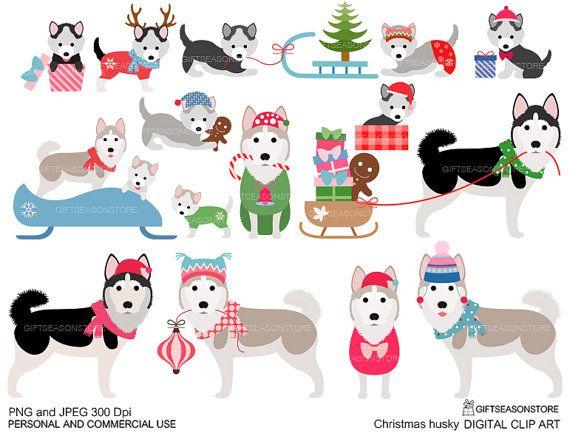 Winter digital clip art. Husky clipart christmas