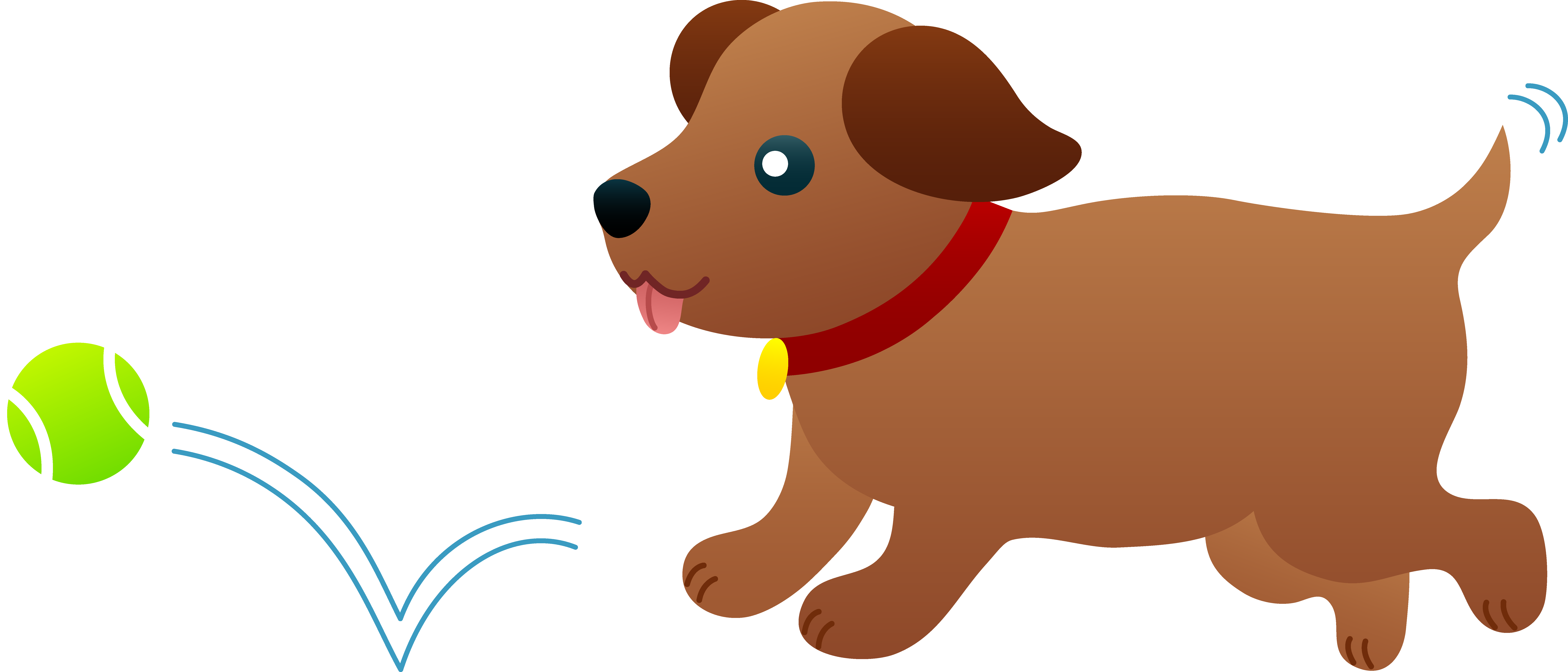 Dog puppy chasing after. Dogs clipart ball