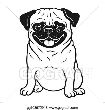 Vector pug dog black. Clipart dogs element