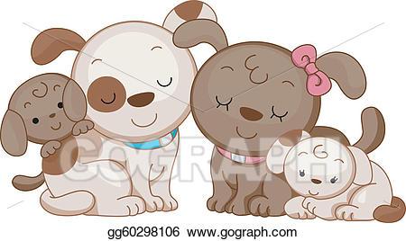 Vector illustration gg . Dog clipart family