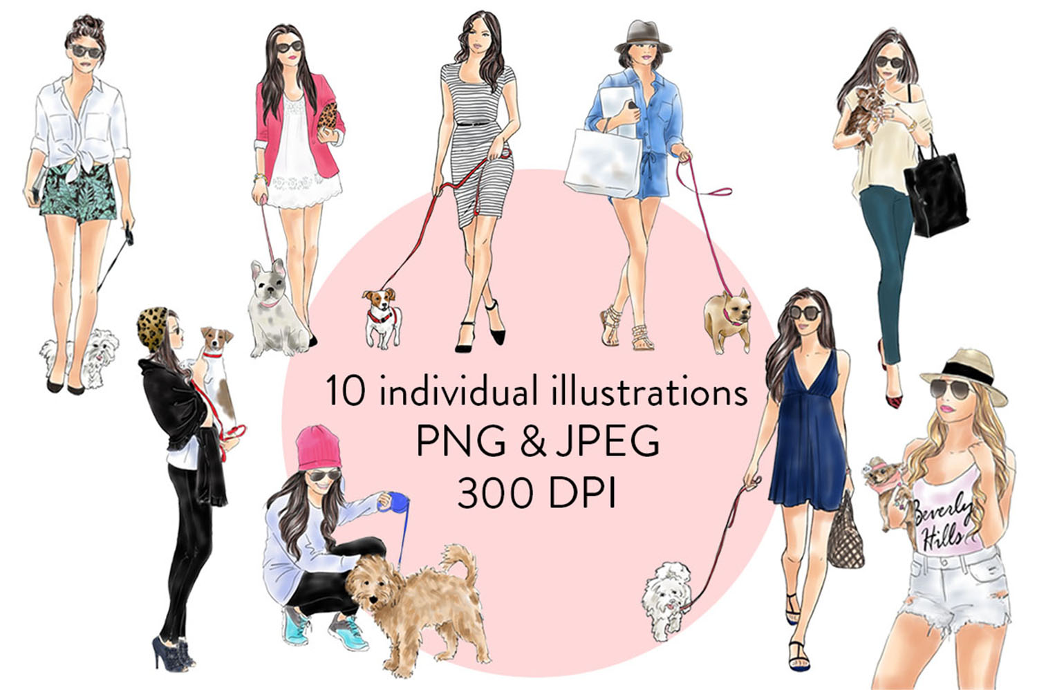 Girls with dogs watercolour. Dog clipart fashion