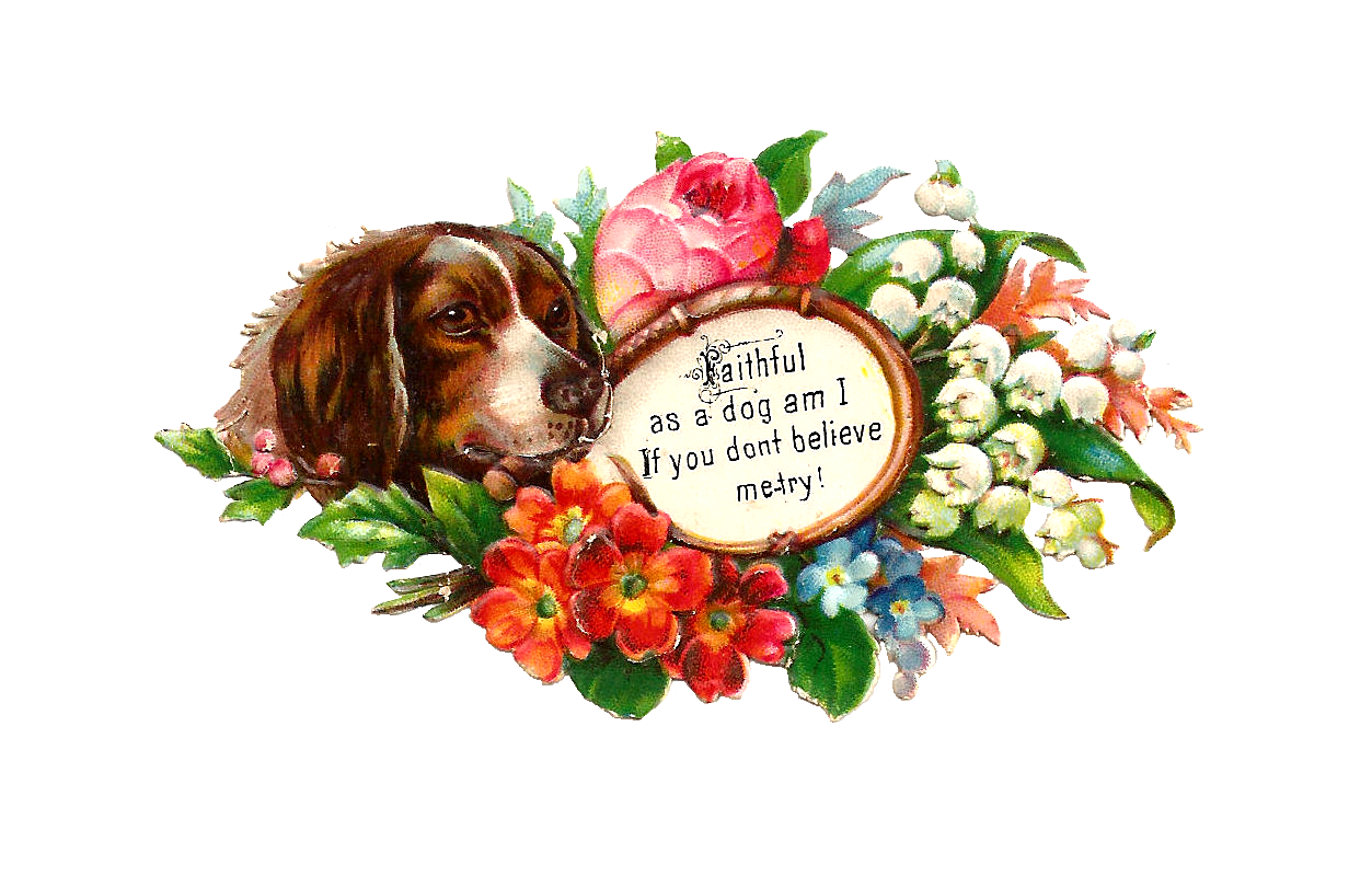 Antique images free dog. Dogs clipart flower