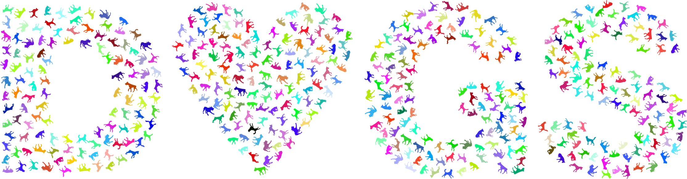 Prismatic heart no background. Clipart dogs flower