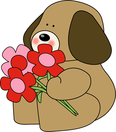 Free cute dog download. Dogs clipart flower