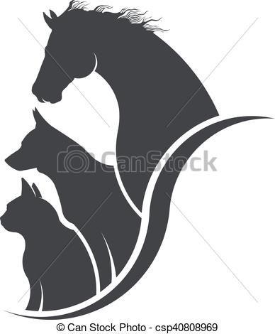 Horses clipart dog. Clip art vector of