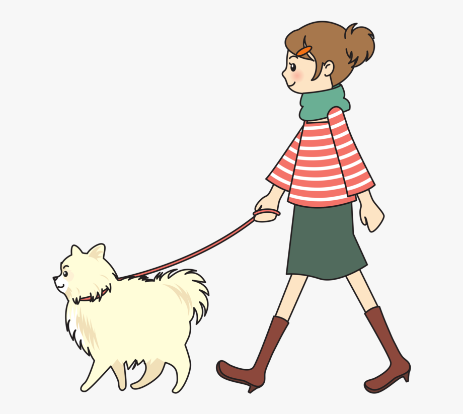 Dogs woman walking a. Pet clipart person dog