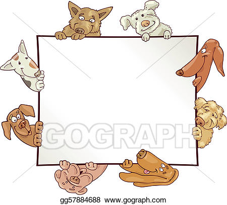 Clipart dogs picture frame. Vector art with drawing