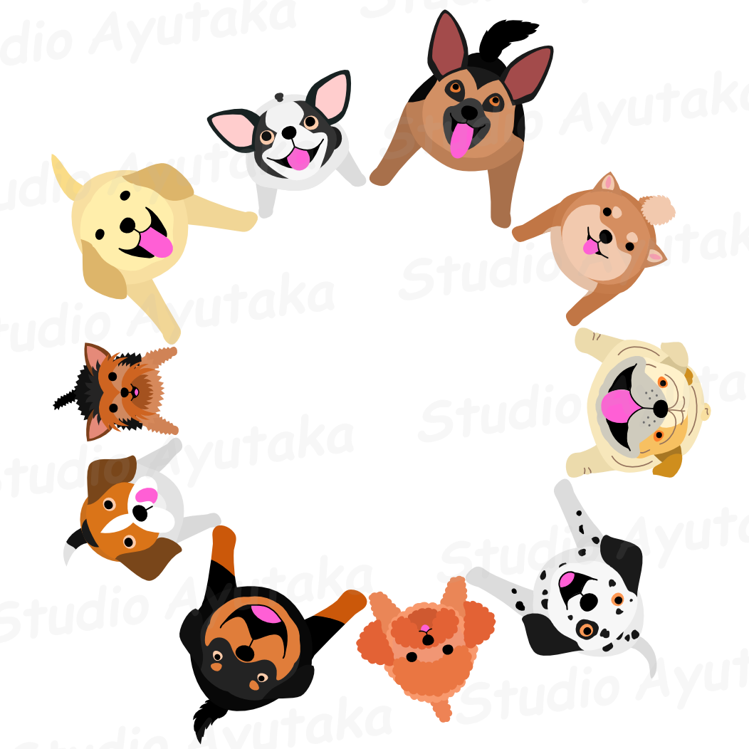 Sitting circle studio ayutaka. Dogs clipart picture frame