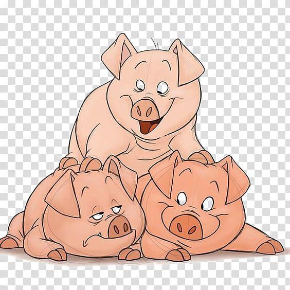 Pig clipart dog. Three pigs illustration domestic