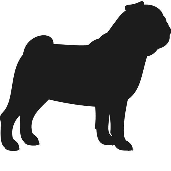 Pawprint clipart pug. Dog silhouette at getdrawings