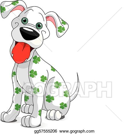 Vector illustration cute smiling. Clipart dogs st patrick day