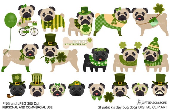 S pug digital clip. Clipart dogs st patrick day
