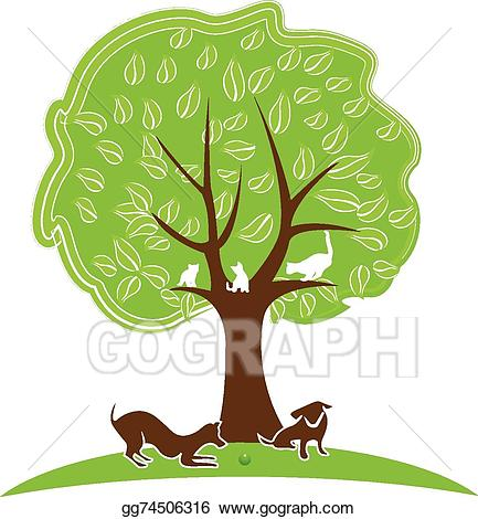 Vector illustration cat and. Dogs clipart tree