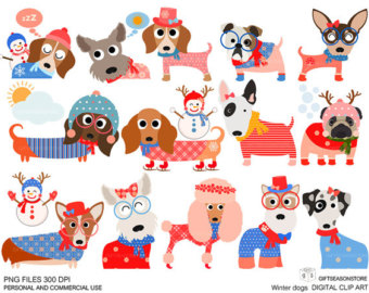 Dog etsy . Clipart dogs winter