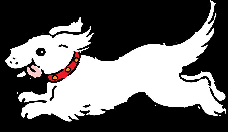 Dog running cartoon group. Clipart dogs worried