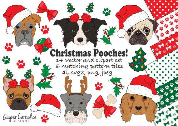 Christmas clip art dog. Clipart dogs xmas