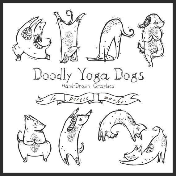 Digital download doodly dog. Dogs clipart yoga