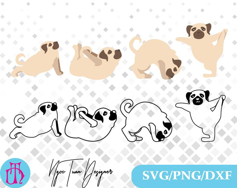 Dog svg png dxf. Clipart dogs yoga