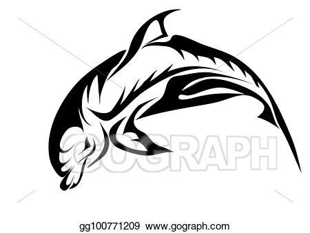 Vector illustration bottlenose eps. Dolphin clipart abstract