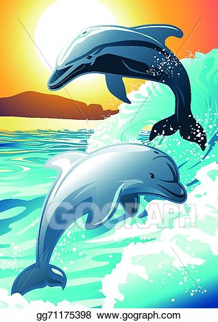 Clipart dolphin beach. Eps illustration two swimming