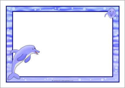 A page borders sb. Dolphin clipart border paper