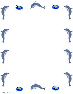 Clipart dolphin border paper. Pin on alphabet