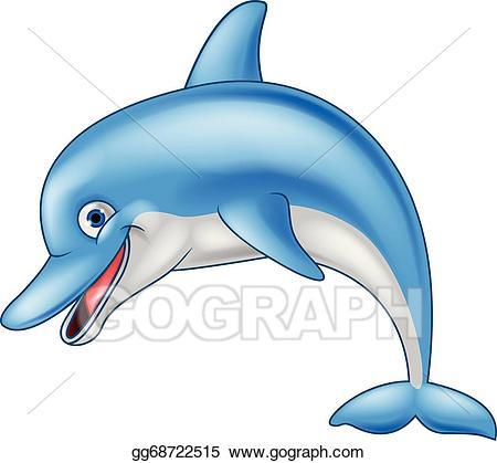 Vector funny illustration . Clipart dolphin cartoon
