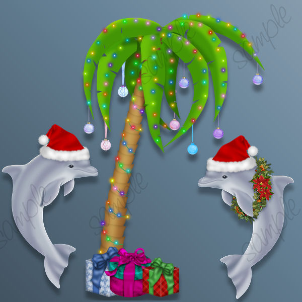 Free holiday dolphin cliparts. Dolphins clipart christmas