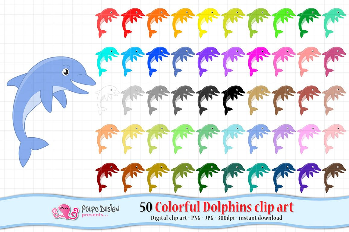 Dolphin clipart colorful. Dolphins clip art