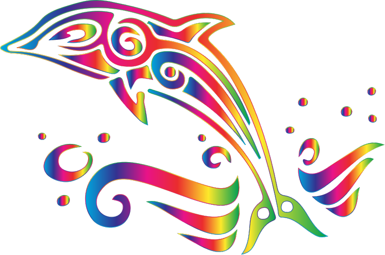 Chromatic tribal no background. Dolphin clipart colorful