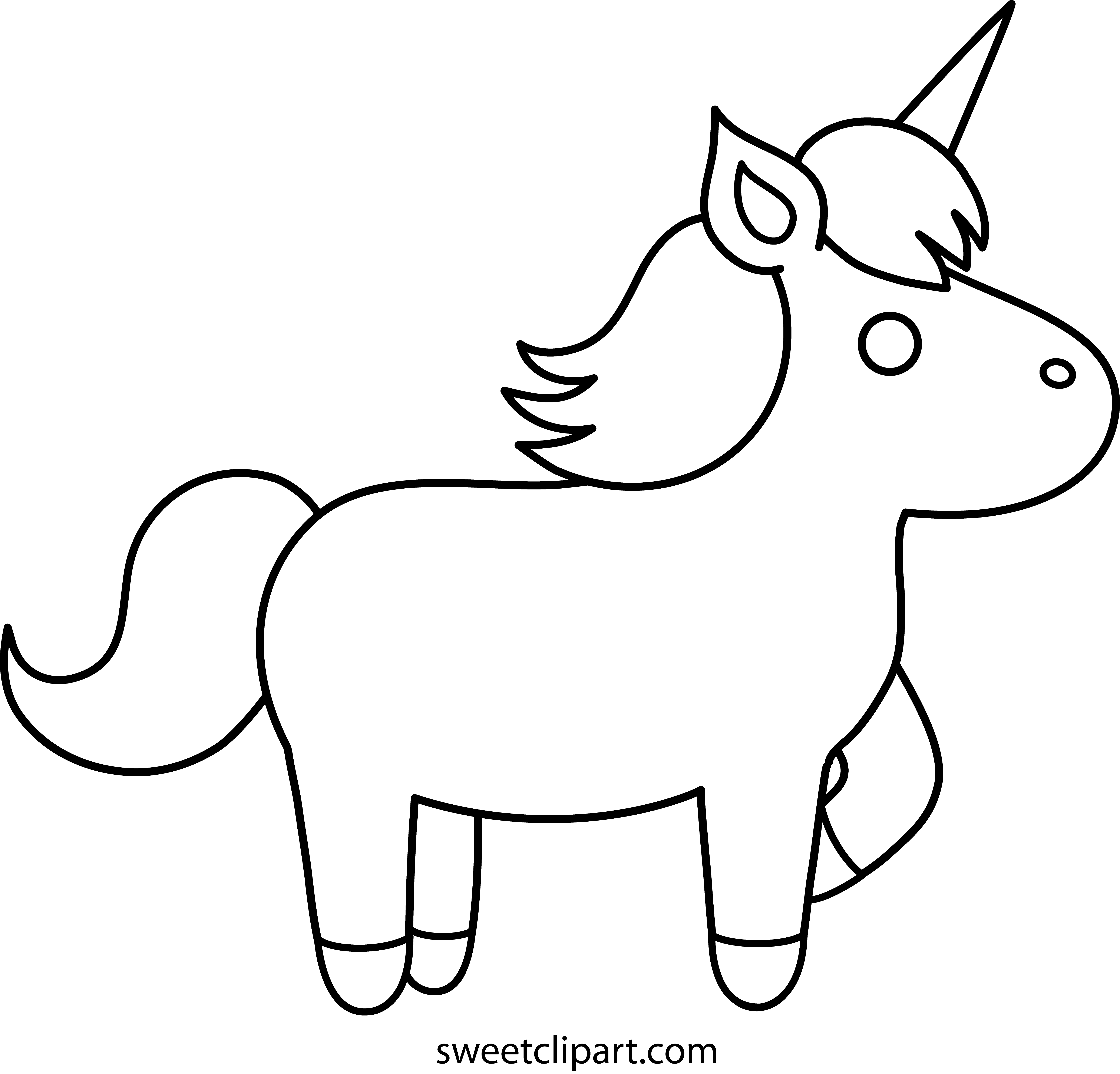 Clipart unicorn outline. Easy coloring pages simple