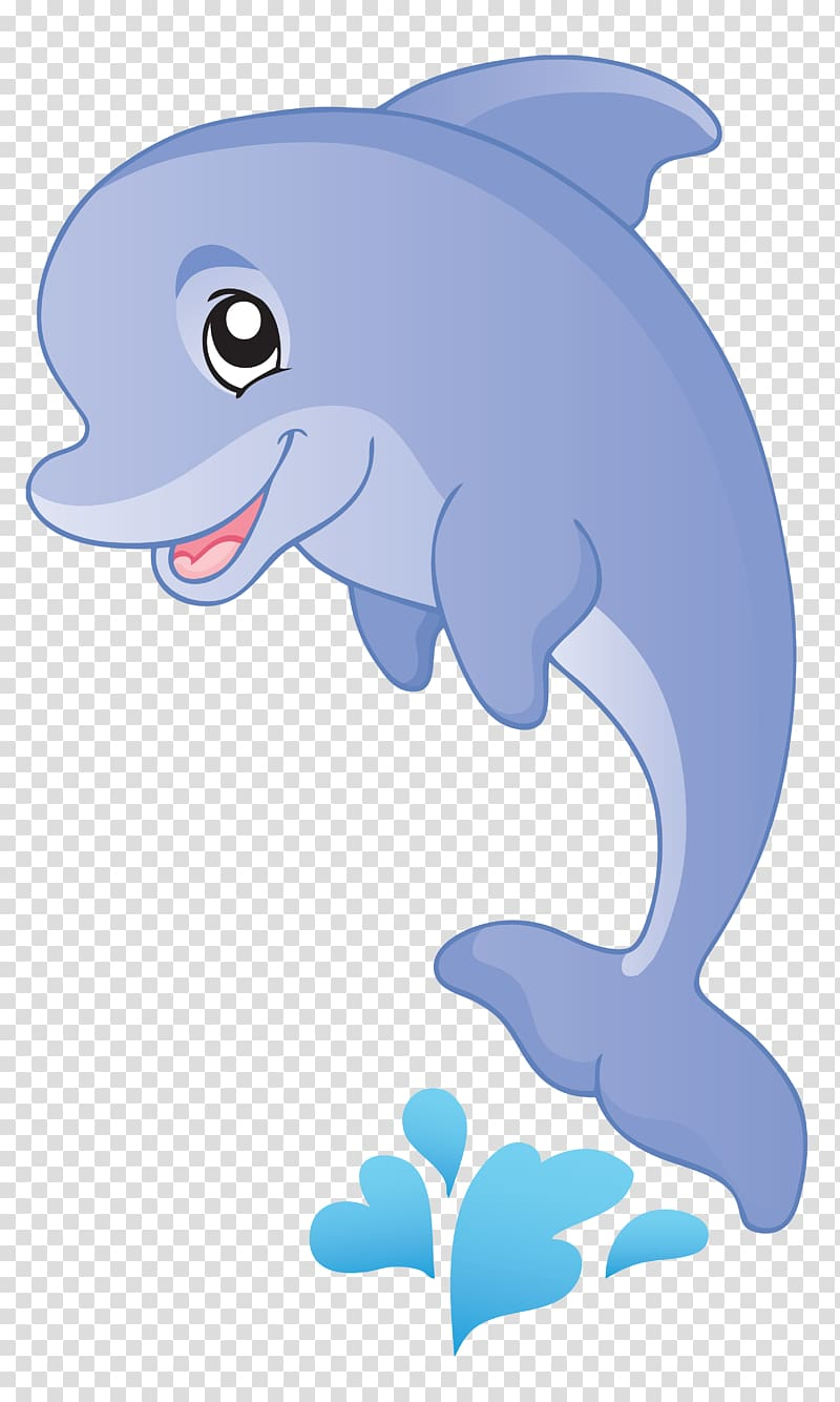 Animated cartoon transparent background. Dolphin clipart mammal