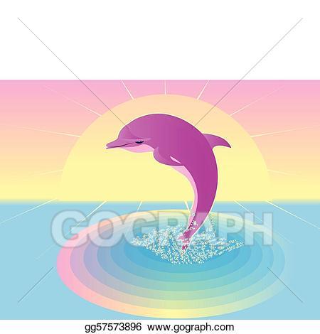 Vector art pink eps. Clipart dolphin dolfin