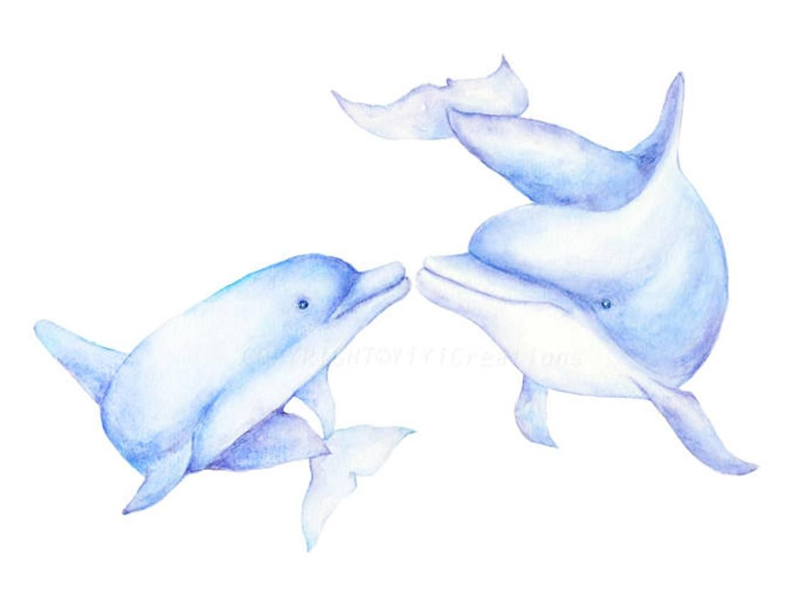 Watercolor hand painted sea. Clipart dolphin dolphin family