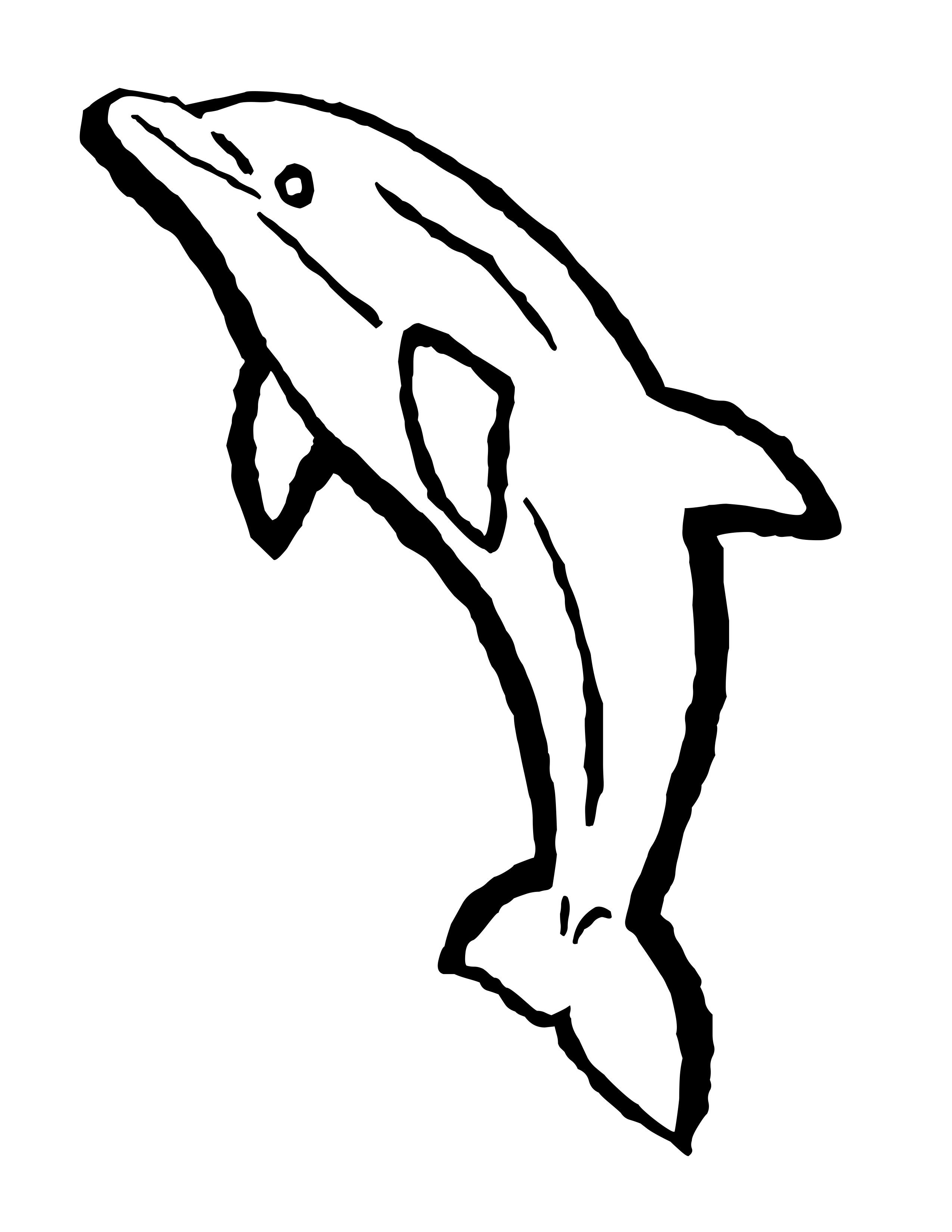 Dolphin clipart dolphin outline. Clip art free coloring