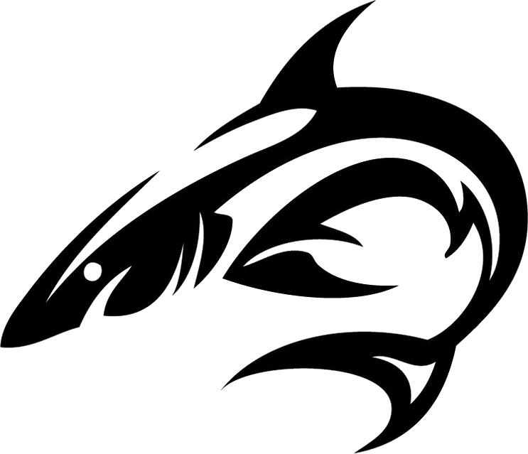 Shark tattoo isolated stock. Dolphin clipart tribal