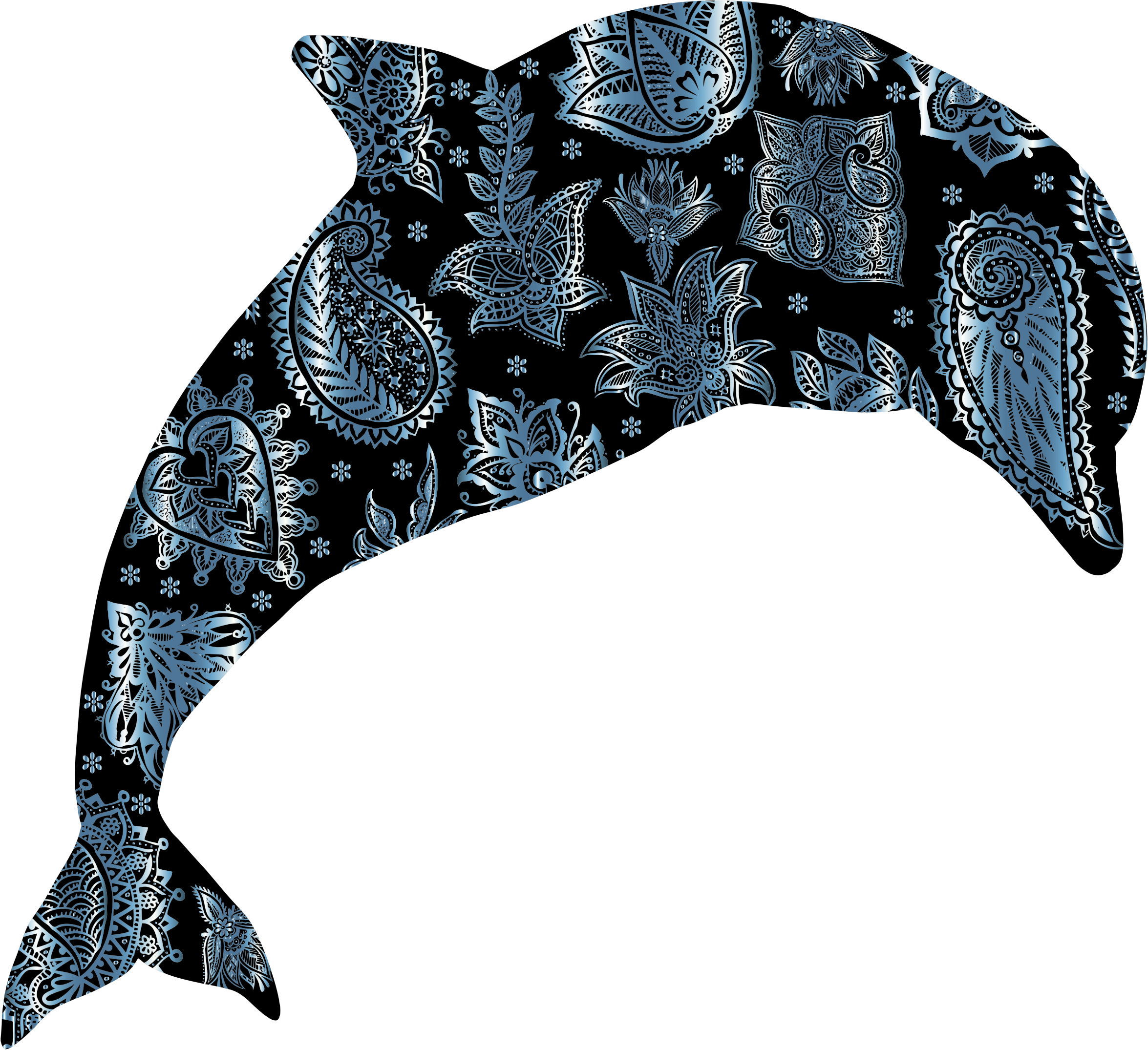 Clipart dolphin grey dolphin. Turquoise floral pattern big